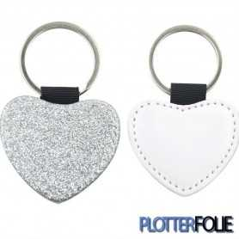 Sleutelhanger Hart Glitter Zilver