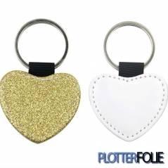 Sleutelhanger Hart Glitter Goud